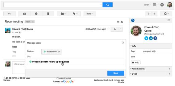Contacto de ActiveCampaign en Gmail